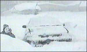 A snow-covered vehicle on the island of Sakhalin