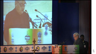 Atal Behari Vajpayee addresses the conference