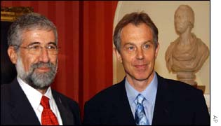 Mr Mitzna (l) and Mr Blair(r)