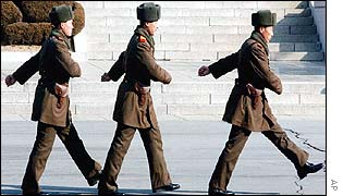 North Korean soldiers at border village of Panmunjom
