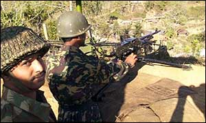 Indian guards on the Manipur-Burma border