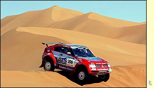Stephane Peterhansel in his Mitsubishi