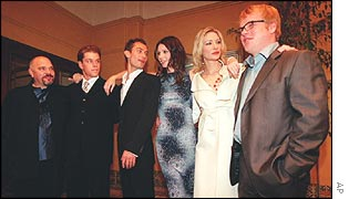 Anthony Minghella with the cast of the Talented Mr Ripley
