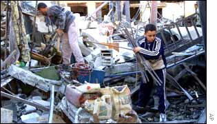 A destroyed workshop in Khan Younis