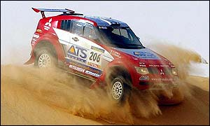 Stephane Peterhansel's car in action during the 12th stage of the Dakar Rally