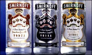 Smirnoff vodka bottles
