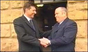 Frank McKenna (left) and John Fillis outside Chester Crown Court