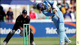 Tail-ender Javagal Srinath goes for a big hit in Hamilton
