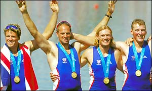 Britain's James Cracknell, Steven Redgrave, Tim Foster and Matthew Pinsent