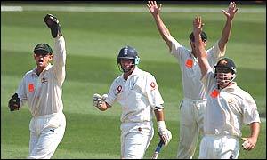 Australia celebrate Nasser Hussain's wicket