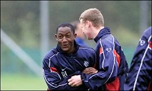 Rangers midfielder Russell Latapy (left)