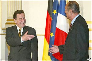 German Chancellor Gerhard Schroeder (left) and French President Jacques Chirac