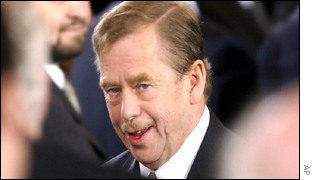 Czech President Vaclav Havel after the farewell speech on 15th Jan 2003