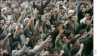 Hardliners protest against a reformist newspaper