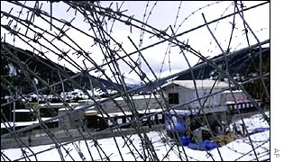 Barbed wire around Davos in 2001