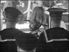 Emperor Haile Selassie inspecting sailors at Portsmouth