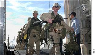 US marines board assault ship in San Diego, California