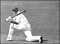 Don Bradman in action in the 1930s