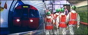 Graphic image of tube workers and train