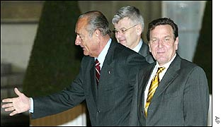 France's Jacques Chirac and Germany's Joschka Fischer, Gerhard Schroeder