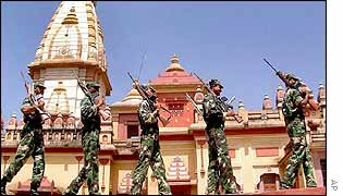 Soldiers guard a famous temple