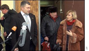 Lawyer Igor Trunov, left, speaks to press outside Moscow's Tverskoi district court
