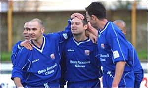 Ray McKinnon (centre) celebrates with Montrose