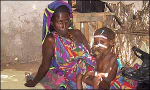A woman and child in a Somali refugee camp