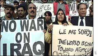 Protesters in Lahore, Pakistan