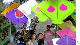People admire kites in Ahmedabad