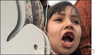 A young girl protesting in Rawalpindi