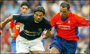 Kevin Muscat (right) in action against Dundee