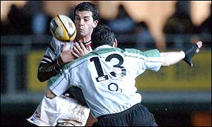 Pontypridd's Emyr Lewis takes man and ball