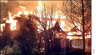 A house ablaze in Canberra
