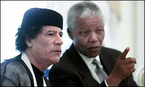 Colonel Gaddafi and Nelson Mandela
