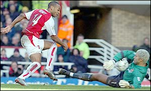 Thierry Henry is repelled by West Ham keeper David James