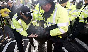 Police remove a demonstrator. Picture by Stuart Emmerson