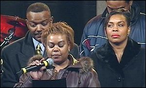 The Ellis family on stage at Villa Park