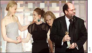 The Hours stars (from left) Nicole Kidman, Julianne Moore and Meryl Streep with producer Scott Rudin