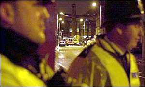 Police outside the mosque
