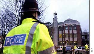 Police officer guards the Finsbury Park Mosque