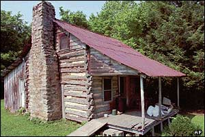 Gertrude Grubb Janeway's log cabin in Blaine, Tennessee