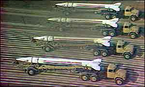 Scud missiles on parade in Baghdad in 1991