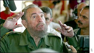 Cuban President Fidel Castro speaks to reporters after he voted, 19 January 2003