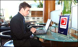 Wi-fi users in lobby of Heathrow Hilton hotel