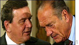 Germany's Gerhard Schroeder with France's Jacques Chirac