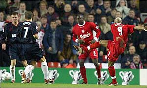 El Hadji Diouf scores for Liverpool with a 20-yard shot after eight minutes