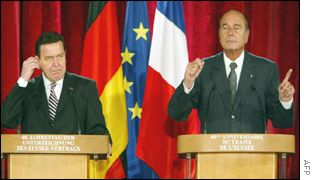 German Chancellor Schroeder (L) and French President Chirac