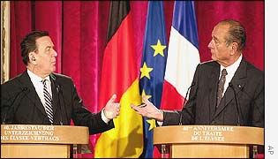 Gerhard Schroeder and Jacques Chirac after joint cabinet meeting
