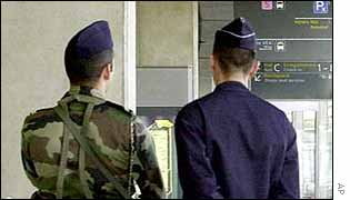 Security forces at Paris's Roissy-Charles de Gaulle airport